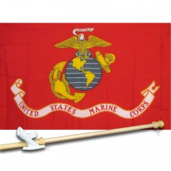 U.S. MARINE CORPS RED 3' x 5'  Flag, Pole And Mount.