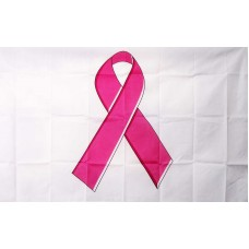 Breast Cancer Awareness White 3' x 5' Polyester Flag