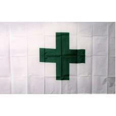 Green Cross White 3'x 5' Flag
