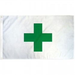 Green Cross White 3'x 5' Flag