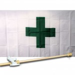 GREEN CROSS 3' x 5'  Flag, Pole And Mount.