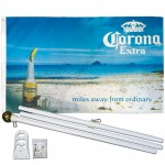 Corona Extra Beach 3' x 5' Polyester Flag, Pole and Mount