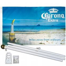 Corona Extra Beach 3' x 5' Polyester Flag, Pole and Mount
