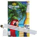 Corona Parrot Vertical 3' x 5' Polyester Flag, Pole and Mount
