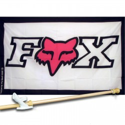 Fox Black,White & Pink 3'x 5' polyester Flag, pole and mount