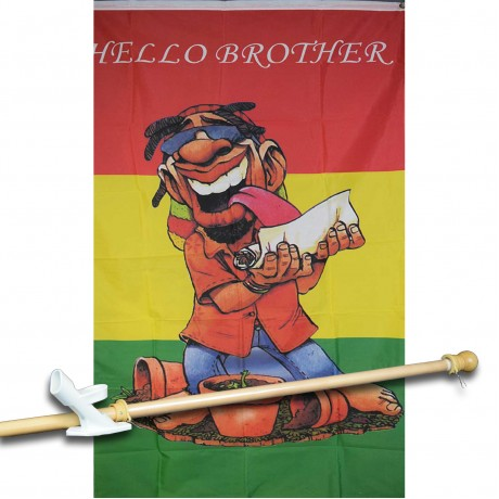 HELLO BROTHER 3' x 5'  Flag, Pole And Mount.