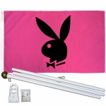 Playboy Bunny Pink 3' x 5' Polyester Flag, Pole and Mount