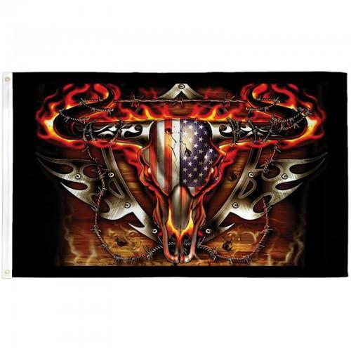 Flaming Bull Skull 3 X 5 Flag F 1580 By Www