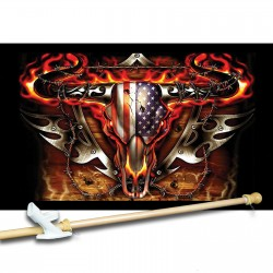 Flaming Bull Skull 3' x 5' Flag, Pole and Mount
