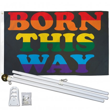 Born This Way Rainbow 3' x 5' Polyester Flag, Pole and Mount