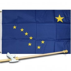 ALASKA STATE 2' X 3'  Flag, Pole And Mount.