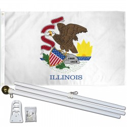 Illinois State 2' x 3' Polyester Flag, Pole and Mount