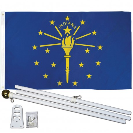 INDIANA STATE 2' X 3'  Flag, Pole And Mount.