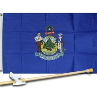 MAINE STATE 2' X 3'  Flag, Pole And Mount.
