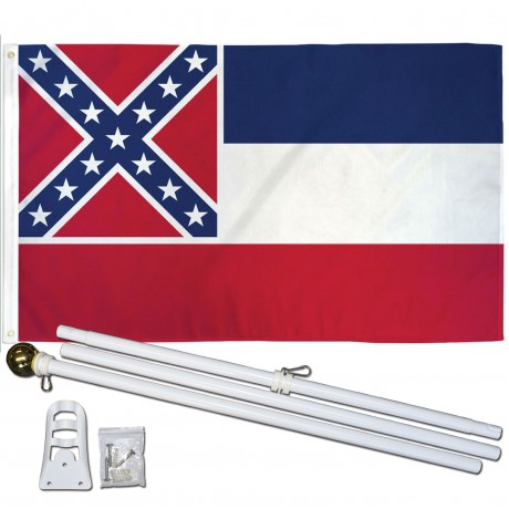Mississippi State 2' x 3' Polyester Flag, Pole and Mount