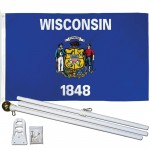 Wisconsin State 2' x 3' Polyester Flag, Pole and Mount