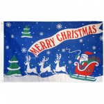 Merry Christmas Blue 3' x 5' Polyester Flag