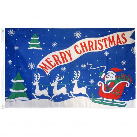 Merry Christmas Blue 3' x 5' Polyester Flag