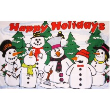 Happy Holidays Snowmen 3'x 5' Flag