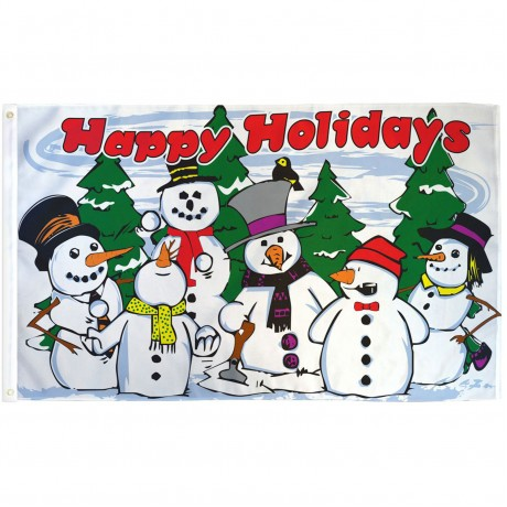Happy Holidays Snowmen 3' x 5' Polyester Flag