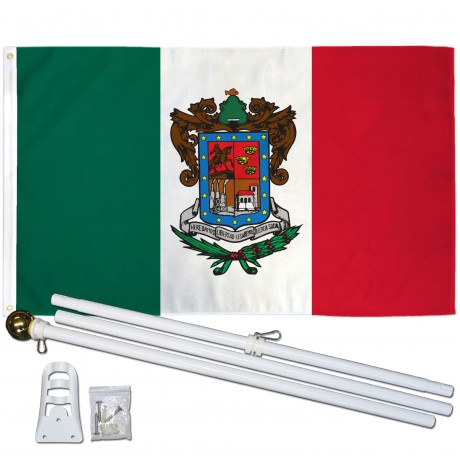 Mexico State 3' x 5' Polyester Flag, Pole and Mount