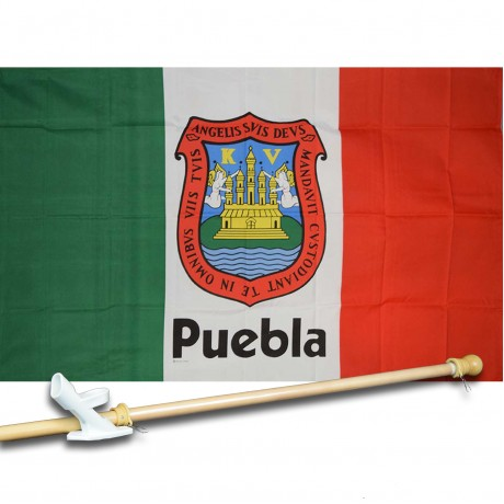 PUEBLA MEXICO STATE 3' x 5'  Flag, Pole And Mount.