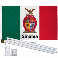 Sinaloa Mexico State 3' x 5' Polyester Flag, Pole and Mount