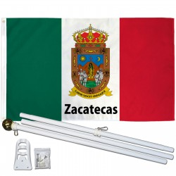 Zacatecas Mexico State 3' x 5' Polyester Flag, Pole and Mount
