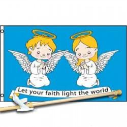 LET YOUR  FAITH LIGHT THE WORLD 3' x 5'  Flag, Pole And Mount.