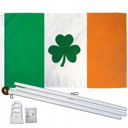 Ireland Shamrock 3' x 5' Polyester Flag, Pole And Mount