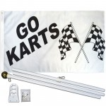 Go Karts 3' x 5' Polyester Flag, Pole and Mount