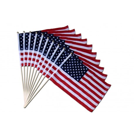 "10 pack of 12"" x 18"" USA Stick Flag"