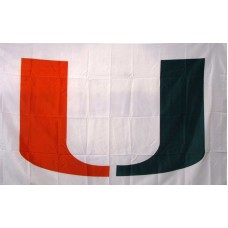 Miami Hurricanes White 3'x 5' College Flag