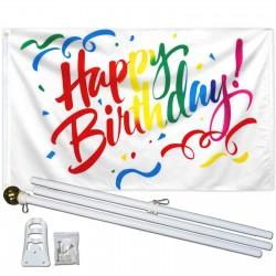 Happy Birthday Confetti 3' x 5' Flag, Pole, and Mount