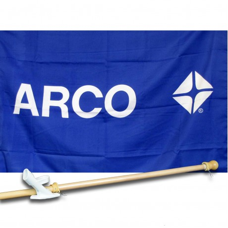 ARCO GAS OIL 2 1/2' X 3 1/2'   Flag, Pole And Mount.