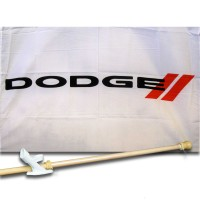 DODGE  2 1/2' X 3 1/2'   Flag, Pole And Mount.