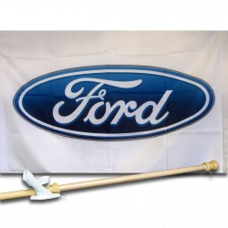Ford Logo   2 1/2' X 3 1/2' polyester Car Lot Flag, Pole And Mount.