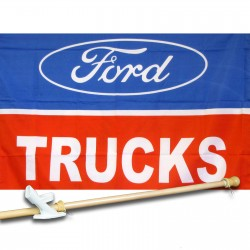 Ford Trucks Logo 2 1/2' X 3 1/2' polyester Car Lot Flag , Pole And Mount.