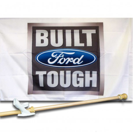 BUILT  FORD TOUGH  2 1/2' X 3 1/2'   Flag, Pole And Mount.