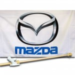 MAZDA  2 1/2' X 3 1/2'   Flag, Pole And Mount.
