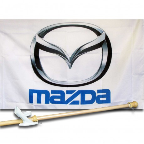 MAZDA  2 1/2' X 3 1/2'   Flag, Pole And Mount.