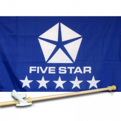 Five Star Blue 2.5' x 3.5' Flag, Pole and Mount