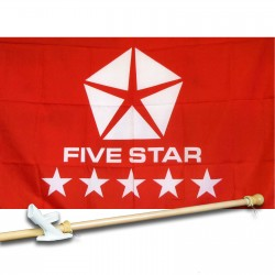 Five Star Red 2.5' x 3.5' Flag, Pole And Mount