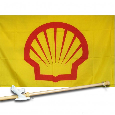 SHELL GAS OIL 2 1/2' X 3 1/2'   Flag, Pole And Mount.