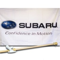 SUBARU CON FIDENCE IN MOTION 2 1/2' X 3 1/2'   Flag, Pole And Mount.
