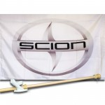 SCION  2 1/2' X 3 1/2'   Flag, Pole And Mount.