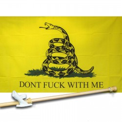 Don't Fuck With Me Yellow 3' x 5' Polyester Flag, Pole and Mount