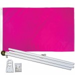Solid Magenta 3' x 5' Polyester Flag, Pole and Mount