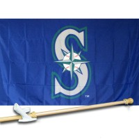SEATTLE MARINERS 3' x 5'  Flag, Pole And Mount.