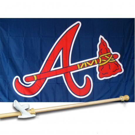 ATLANTA BRAVES 3' x 5'  Flag, Pole And Mount.